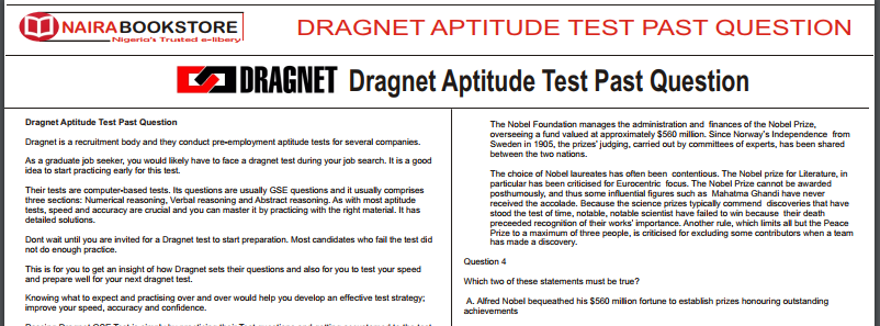 Dragnet sample Questions & Answers (PDF Download) - Naira Bookstore